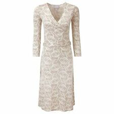 NEW Pure Collection Silk Jersey Dress Neutral Swirl - UK 8