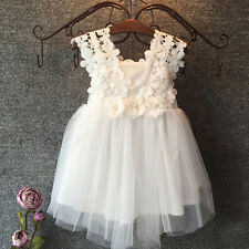 Kids Baby Flower Girls Formal Dress Lace Tulle Party Birthday Bridesmaid Dresses