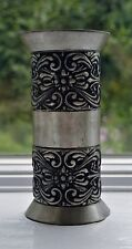 Norwegian Telemark Rosemaling Pewter Vase / Candle Holder in One Norway 1960's