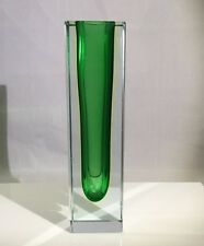 "Murano Italy Sommerso Green Clear Art Glass Bud Vase, Squared 6"" Original Label"