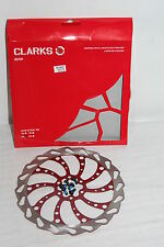 Clarks 160mm Wavey Disc Brake Rotor 160mm 6 bolt  Red w/bolts