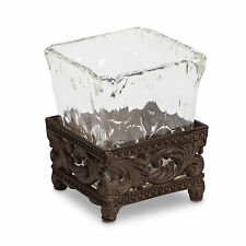 The GG Collection Acanthus Leaf Brown Metal & Glass Scroll Pencil Holder