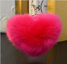 Rabbit Fur Heart Shape Ball PomPom Car Keychain Handbag Charm Pendant Key Ring