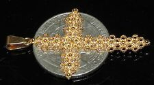 Solid 18K Yellow Gold Gorgeous Design Cross Pendant 3.01 Grams 45 mm or 1.75""