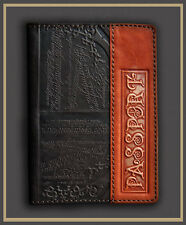 HANDMADE Genuine LEATHER PASSPORT COVER holder case BROWN decorate engraving 14