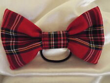 HAIR BAND BOBBLE RED TARTAN ROYAL STEWART PLAID 7 INCH BIG BOW LADIES GIRLS NEW