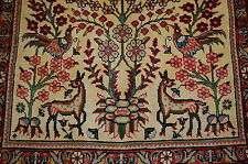 c1930s ANTIQUE HIGHLY DETAILED ANIMAL SUBJECTS PERSIAN TABRIZ RUG 3x4.3