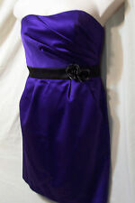 WOMENS DAVID'S BRIDAL PURPLE SATIN FITTED FORMAL EVENING PARTY PROM DRESS