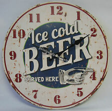 34cm New Wall Clock Ice Cold Beer Served Here Great for Man Cave Large Numbers