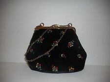 Vintage Black Velvet Purse With Stitched Flowers