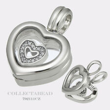 Authentic Pandora Silver Floating Heart Locket with CZ Heart Pendant 792111CZ