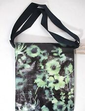 NWT Blue Q Green Black Watercolor Blossoms Messenger Bag Tablet Case Lightweight
