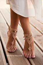 Barefoot Beach Sandals Crochet Anklet Beach Wedding Foot Jewelry Toe Thong Beige