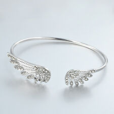 Women's Gift Silver Rhinestone Crystal Angel Wings Bangle Cuff Bracelet Jewelry