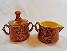 NITE OWL Cream Pitcher and Sugar Bowl with Lid Brown Yellow Hand Painted Pottery