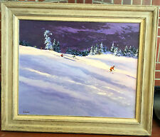 """Harry Swanson Signed Oil Skiing Mountains Huge 38"""" x 32"""" Framed"""