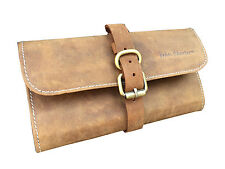 40s Retro Leather Wash Toiletry Bag Distressed Leather