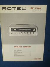 ROTEL RX-154A RECEIVER OWNER MANUAL ORIGINAL FACTORY
