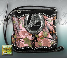 Montana West Horse & Horseshoe Camouflage​e Cross body Bag-Pink
