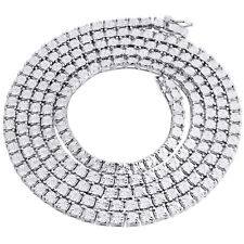 "1 Row White Diamond Necklace Chain Mens White Gold Finish 1 ct. 36"" Fanook Set"