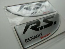 X2 RENAULT SPORT WING badge/emblem Side Wing Fender RENAULT CLIO  PANEL SILVER