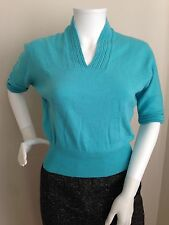 Vintage 50's Jantzen Bombshell Fitted Pin-Up Sweater Teal Aqua Blue-S/M
