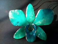 Real Orchid Brooch Pin Pendant Jewelry Natural  Blue Color