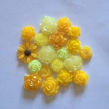 Mix of 20 Yellow resin flowers Flatbacks  Embellishments Card making  scrapbook