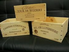 3 X GENUINE FRENCH WOODEN WINE CRATE BOX PLANTER SHABBY CHIC DRAWERS STORAGE