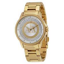 Armani Exchange Crystal Dial Gold-tone Ladies Watch AX4321