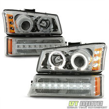 2003-2006 Chevy Silverado 1500 Avalanche LED Halo Headlights DRL Bumper Lights
