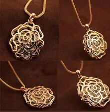 18K Rose GOLD Plated Hollow Rose Flower Austrian Crystal Pendant Long Necklace
