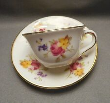 1930s Miniature English Teacup & Saucer - Foley Bone China - Multi Floral