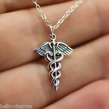REGISTERED NURSE CHARM NECKLACE - 925 Sterling Silver - Medical RN Caduceus *NEW