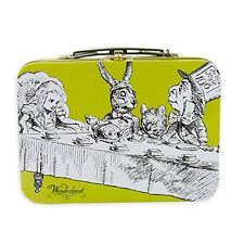 Retro Vintage Wonderland Alice Yellow Handle Tin Tote Tea Party Lunch Box Metal