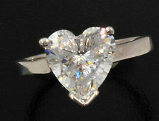 3 ct Heart Ring Vintage Top Russian CZ Moissanite Simulant SS Size 4