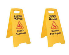 Caution Wet Floor Sign, Case of Two, Bright Yellow, Plastic ****FREE SHIPPING***