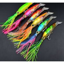 US 6pcs 14cm/40g Sleeve-Fish lures Fishing Lures Plastic Squid Crank Bait Tackle