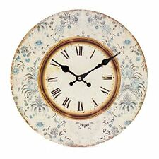 HEAVEN SENDS VINTAGE BLUE FLORAL WALL CLOCK SHABBY KITCHEN CHIC 34 CM DECOR GIFT