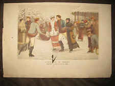 ANTIQUE 1860 CHRISTMAS IN CANADA ICE SKATING PRINT TOWNELEY GREEN WINTER SPORTS