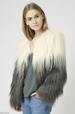BNWT TOPSHOP SIZE 12 KATE MOSS ICONIC MONGOLIAN SHAGGY FUR JACKET WOMEN SOLD OUT