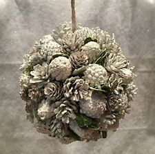 20cm Frosted White Pine Cone Ball Christmas Hanging Decoration Wedding Snow