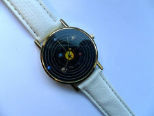Very Unusual Solar System // Planet  Gold Faced Quartz Watch White Strap