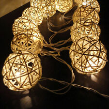Handcrafted UK Battery Operated Cream Rattan Ball Warm White 2M LED Fairy Lights