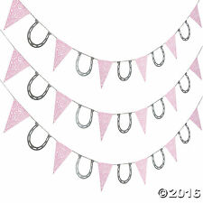 Pink Bandana Cowgirl Pennant Banner with Horse Shoes 7FT. Cowgirl Pony Party NEW