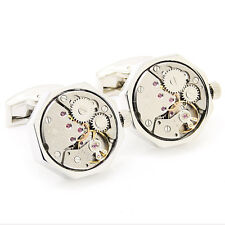 Silver Octagon Lovely Pair Steampunk Vintage Watch Movement Cufflinks Weddings
