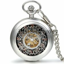 Retro Hollow Skeleton Roman Numerals Dial Hand-Winding Mechanical Pocket Watch