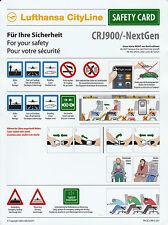 Safety Card LH CityLine CRJ900/-NextGen Sammlerstück NEU!! Sicherheitsdatenblatt