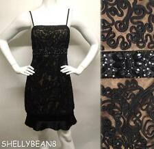 SUE WONG 1920s BEADED Flapper GATSBY Nude Black Illusion JEWELED Waist Dress 4