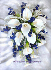 WHITE & BLUE Cascade Bridal Bouquet ~ Calla Lilies Silk Wedding Flowers GORGEOUS